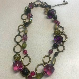 Lia Sophia Antique Gold & Beads Purple & Green